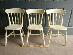 New Painted Spindle Back Farmhouse Country Kitchen Dining Chair In Farrow Cream Ebay