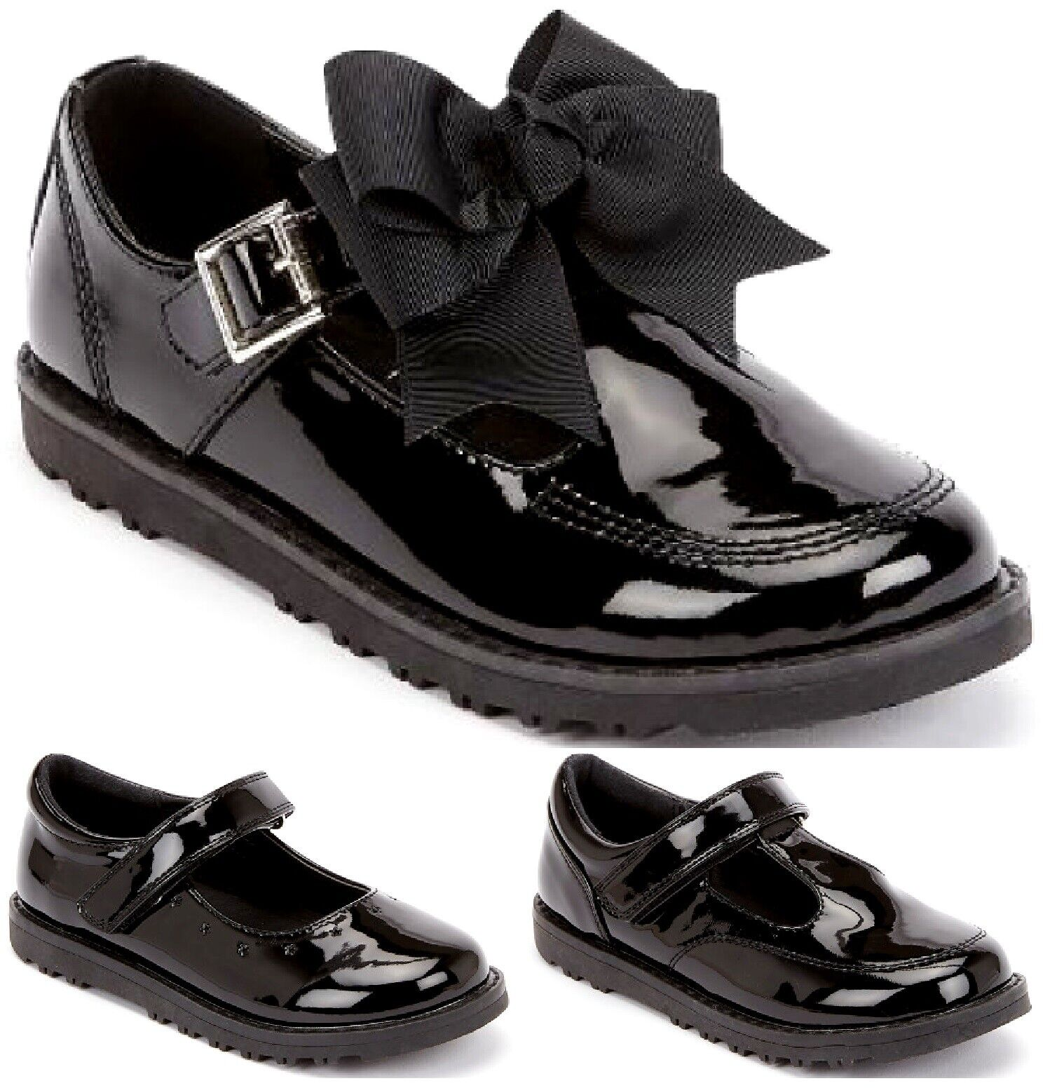 Kids Girls Flat T-Bar Party Wedding Shiny Patent Spanish School Shoes Size4.5-12