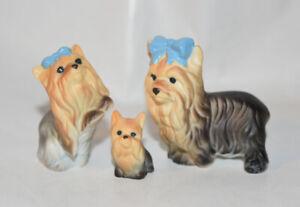 Bone-China-Japan-Yorkshire-Terrier-Dog-Figurine-Family