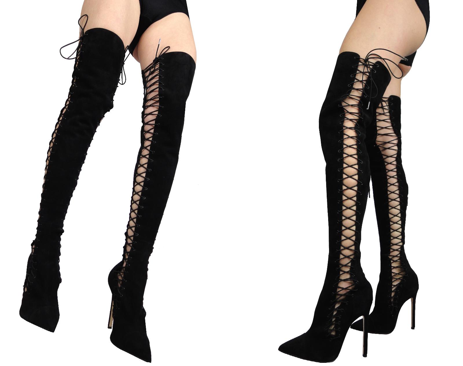 Zapatos de mujer baratos zapatos de mujer CUSTOM GIOHEL ITALY CUSTOM mujer CORSé OVERKNEE BOOTS STIEFEL BOTAS ANTE BLACK NEGRO 42 dc4236