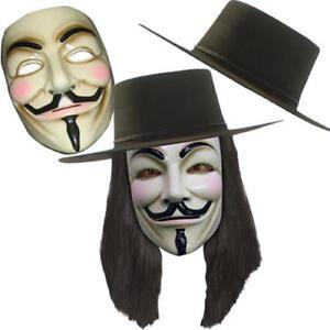 V for Vendetta Adults Fancy Dress Hat Wig Mask Mens Movie Costume ... 909f6e589