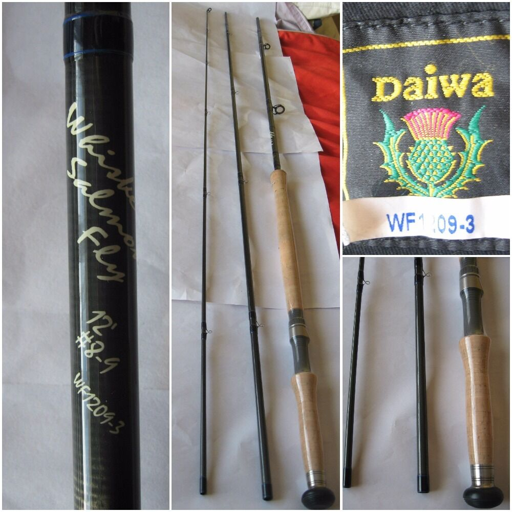 New 3 Piece Scottish Made Daiwa Whisker Salmon Fly 12ft  8-9 WF1209-3 Fly Rod