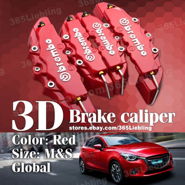 Red 3D Brake Caliper Cover Brembo Style Universal Disc Racing Front Rear 4P AA01