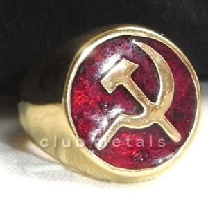 SOVIET-RUSSIAN-COMMUNIST-HAMMER-amp-SICKLE-MENS-BRONZE-RING-Ruby-Red-Enamel-Jewel