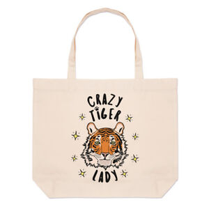 Crazy-Tiger-Lady-Stars-Large-Beach-Tote-Bag-Funny-Animal-Shopper-Shoulder