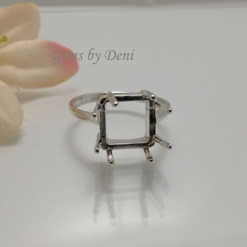 5x5-12x12mm Square 8-Prong Silver Pre-Notched RESIZED Ring Setting Size 5-9