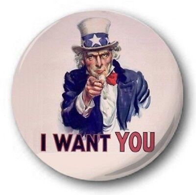 "I Want You - 25mm 1"" Button Badge - Uncle Sam, World War USA"