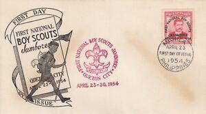 M-3736-Filippine-APRILE-1954-Scout-Jamboree-SOVRASTAMPA-francobollo-primo-giorno-di-copertura