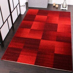 Teppich rot  Velours Kurzflor Teppich - Winchester - Modernes Karo Muster in ...