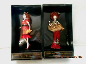 NIB-Ladies-w-Elegance-Collection-2-Red-Hair-Blown-Glass-Christmas-Ornaments-w2s9