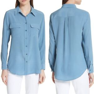 Equipment-Size-Small-Blouse-Silk-Blue-Slim-Signature-Classic-Button-Up-Top-Shirt