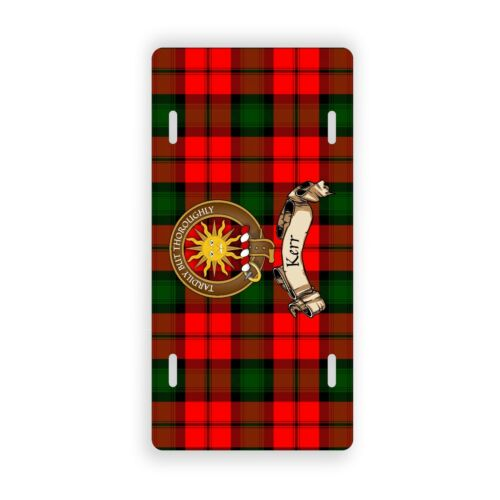 Kerr Scottish Clan Tartan Novelty Auto Plate with Crest and English Motto