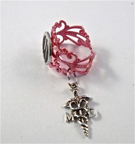 STETHOSCOPE ID TAG RING PINK LACE CHARM,MD CADUCEUS,MONOGRAMMED,NURSE,VET.ER,