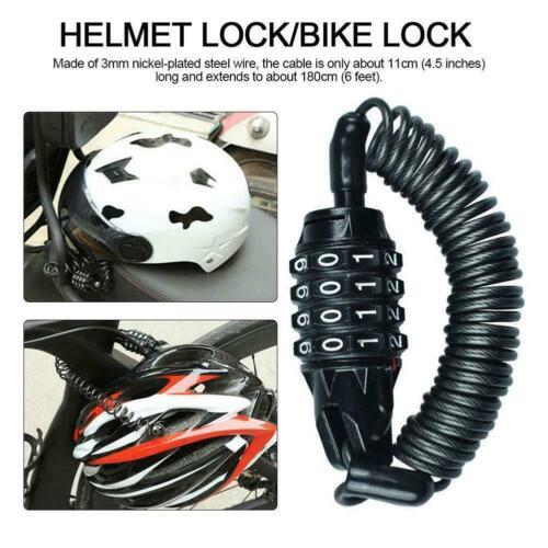 Steel Motorcycle Helmet Lock Cable Combination 4 Digit Anti-theft Password Y8T3