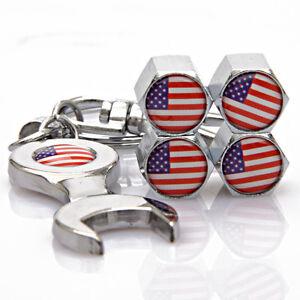 4pcs Auto Car Reifen Ventilkappen + Wrench schlüsselanhän<wbr/>ger für United States
