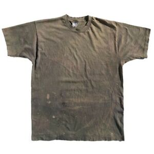 Vintage-90s-Thrashed-Distressed-Faded-Blank-Grey-Single-Stitch-FOTL-T-Shirt-XL