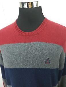 IZOD Red Gray Blue Stripe Warm Winter Heavy Cotton Sweater Men's ...
