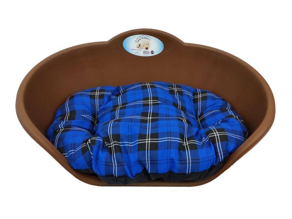 Extra Large Plastic BROWN Dog Pet Bed With blueE TARTAN Dog Cat Basket