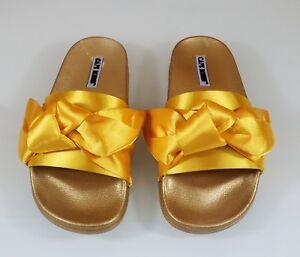 93eba85d9a13 Cape Moria Gold Yellow Satin Tie Knot Slip-on Flat Sandal Shoe 6 ...