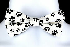 Bow Wow Meow Bow Tie Mens Adjustable Dog Cat Paw Print Fun Funny Gift Bowtie New