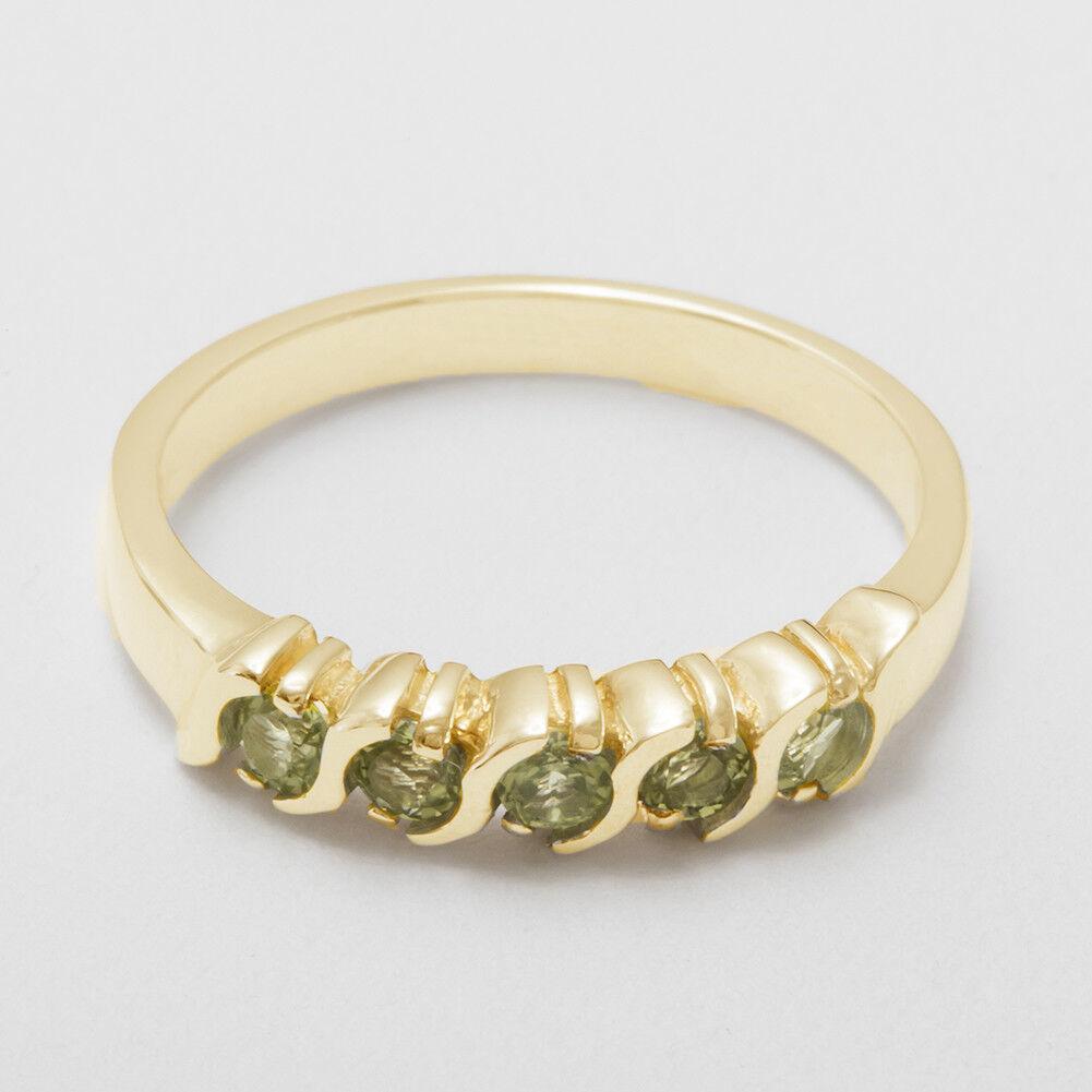 Solido 9ct giallo oro naturale naturale naturale peridot Da Donna Eternity anello-Taglie J a Z 67ae1a