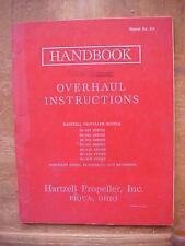 1962 Hartzell Propeller Overhaul Instructions SUPPLEMENT Handbook aviation book