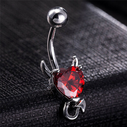 Navel Belly Button Ring Crystal Rhinestone Heart Spiral Devil Pierc Jewe.rd