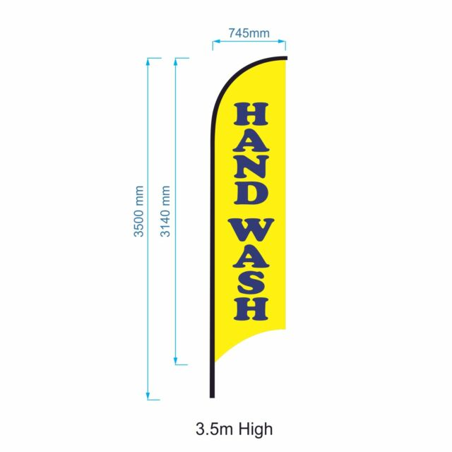 3.5m HAND WASH Replacement Flag/ Advertising Flag (Excl. Pole & Base)-Ship Today