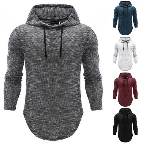 Men/'s Basic Casual Fit T-shirt Long Sleeve Hoodie Hooded Tops Shirts Slim Muscle