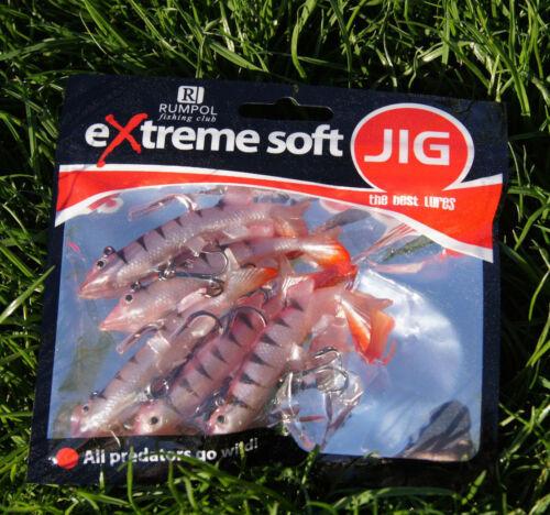 5 x Hecht Shad Jigkopf Jig Gummifisch montiert Hecht Design 8cm 10g 140584