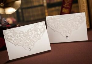 10x-Elegant-Wedding-Invitation-Card-w-Envelop-White-LaserCut-BulkBuy-Disc-Apply