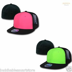 e0e517393db6d DECKY Blank Retro Neon Flat Bill Flex Fit Fitted Baseball Hats Caps ...