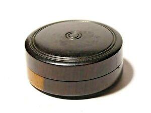 Antique-Turned-Wood-Lignum-Vitae-Trinket-Pill-Watch-Menders-Oil-Box-30mm-dia