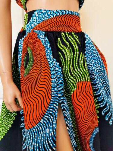 CHANTAL African Print Front Slit Full Length//Maxi Skirt 100/% Wax Cotton Handmade