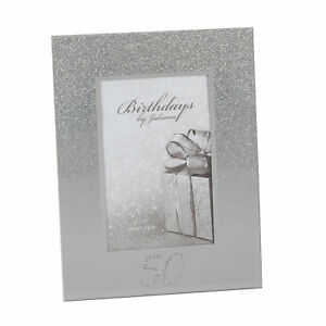 Silver-Glitter-amp-Mirror-Photo-Frame-with-Number-50th-Birthday-Anniversary