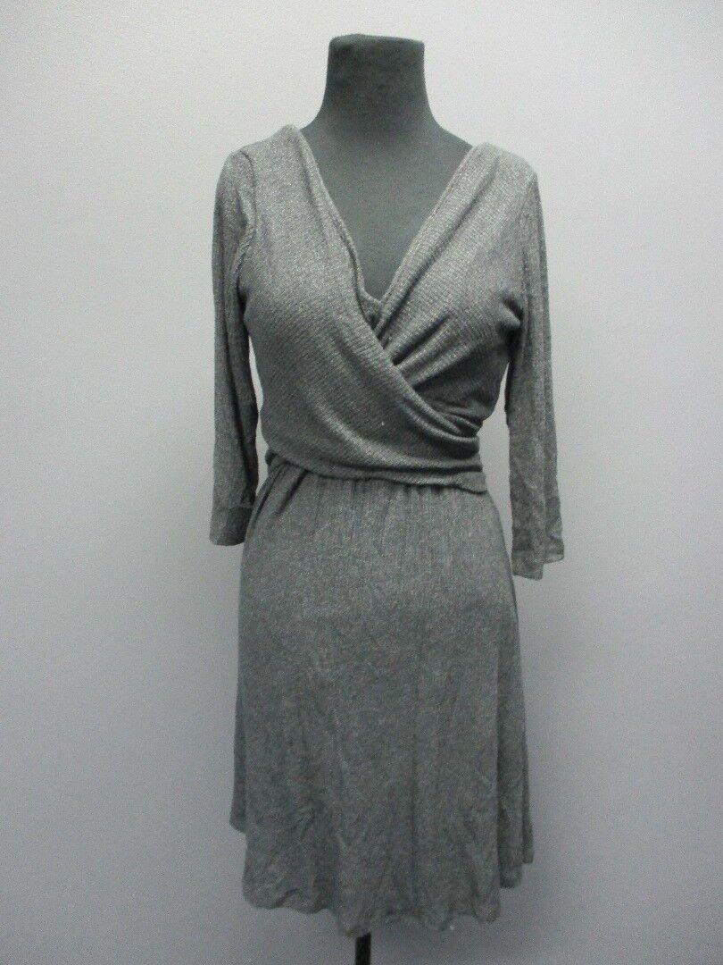 AMADI Charcoal 3   4 Sleeves V Neck Knee Length Dress Sample NWT Sz S EE8755