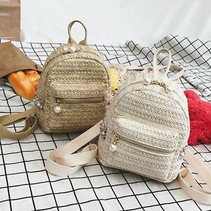 Women-039-s-Crochet-Beads-Small-Mini-Backpack-Rucksack-Daypack-Travel-Bag-Purse-Bag