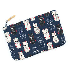 Navy Lucky Cat Japanese Pouch Bag