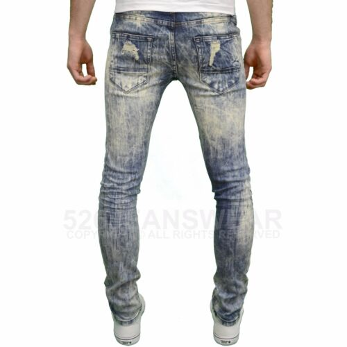 nuova con etichetta LOYALTY /& FAITH da Uomo Designer Skinny Fit EFFETTO INVECCHIATO STRAPPATO dettagli jeans