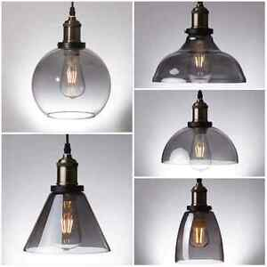 Image is loading Smoke-Glass-Pendant-Light-Antique-Vintage-Industrial-Loft- & Smoke Glass Pendant Light Antique Vintage Industrial Loft Ceiling ... azcodes.com