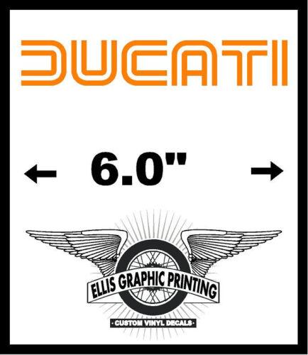 "2 #K291 6/"" Ducati Vintage Retro Logo Decal Sticker Gloss Orange"
