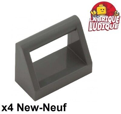Lego x 4 Dark Bluish Gray Tile Modified 1x2 with Handle 2432 NEUF