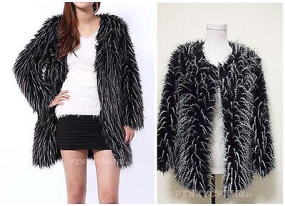 Chic Faux Fur Ostrich Feather Trend Long Hair Coat Jacket Parka Outwear S-XXL