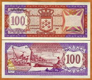 Netherlands-Antilles-100-Gulden-1981-P-19-CV-550-UNC