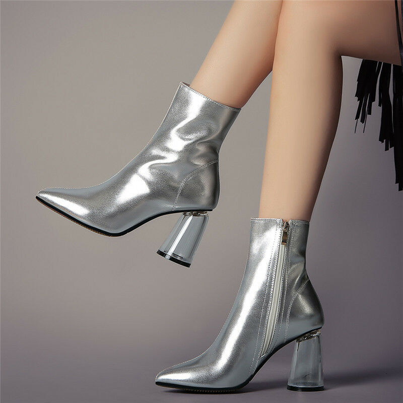 Donna Pointed Toe Ankle Boots Metallic Leather Fashion High Clear Heel Shoes