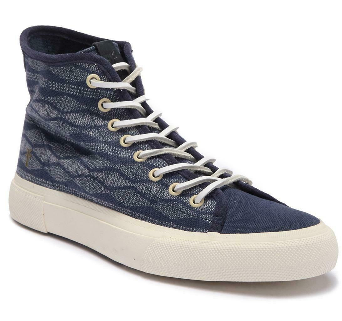 New in Box -  128 FRYE Ludlow Canvas Navy Print High-Top Sneaker Size 10.5