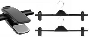 5-New-Extra-Wide-40cm-Black-Adjustable-Plastic-Clip-Clothes-Hangers-Trouser