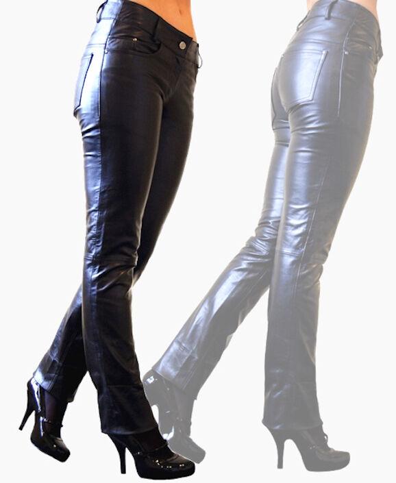 Damen-Jeans-Lederhose Leather Pants schwarz slimfit Lamm Nappa-Echtleder XXS-2XL