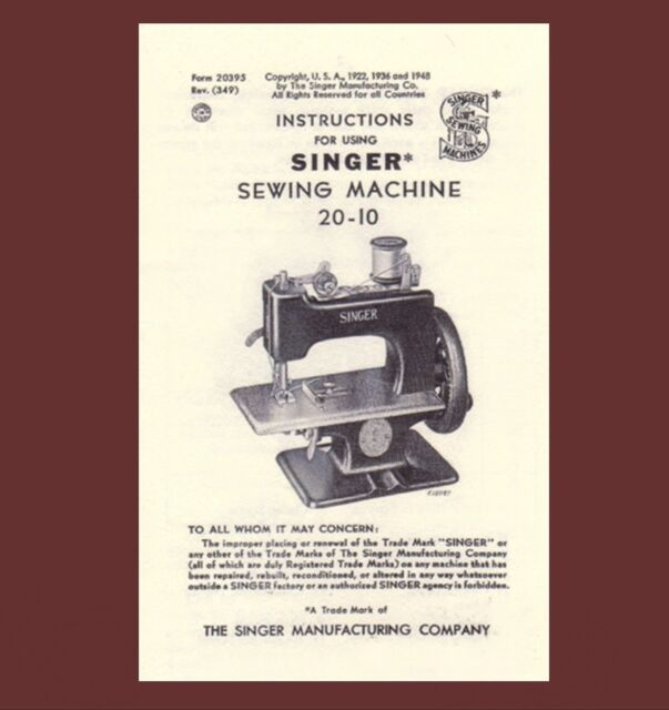 Singer toy child sewhandy sewing machine manual instructions 20 1.