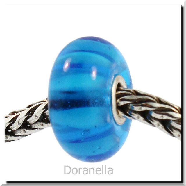 Authentic Trollbeads Glass 61358 Turquoise Stripe 1 RETIRED